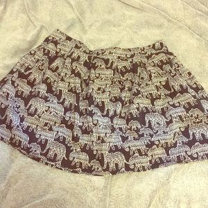 Bohemian elephant print black and white skirt
